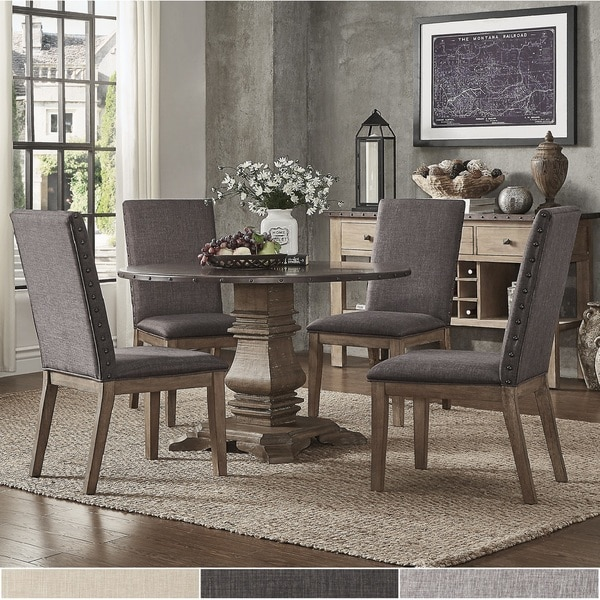 Janelle Round Rustic Zinc Dining Set - Parson Chairs by iNSPIRE Q Artisan