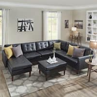 Shawna Black Button Tufted Leather Gel U-Shape Sectionals by iNSPIRE Q Modern