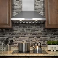 """AKDY RH0228 30"""" Stainless Steel Wall Mount Range Hood Touch Screen Display Ductless Vent"""