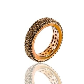 Pave Brown Crystal Eternity Band Rose Gold Plated Ring