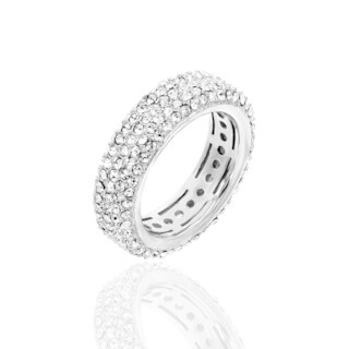 Pave Clear Crystal Eternity Band Rhodium Plated Ring - White
