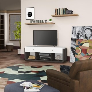 Furniture of America Zilo Modern Distressed Grey & White 64-inch TV Stand