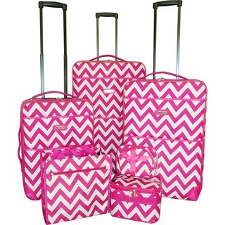 Karriage-Mate Pink Chevron 7-piece Expandable Luggage Set