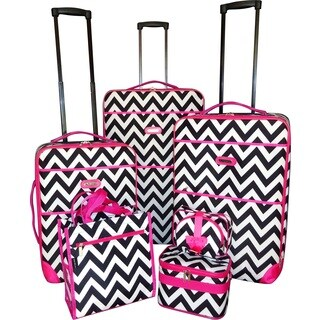 Karriage-Mate Pink Trimmed Black Chevron 7-piece Expandable Luggage Set