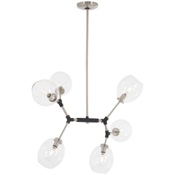 George Kovacs Nexpo 6-Light Brushed Nickel W/Black Pendant - Silver
