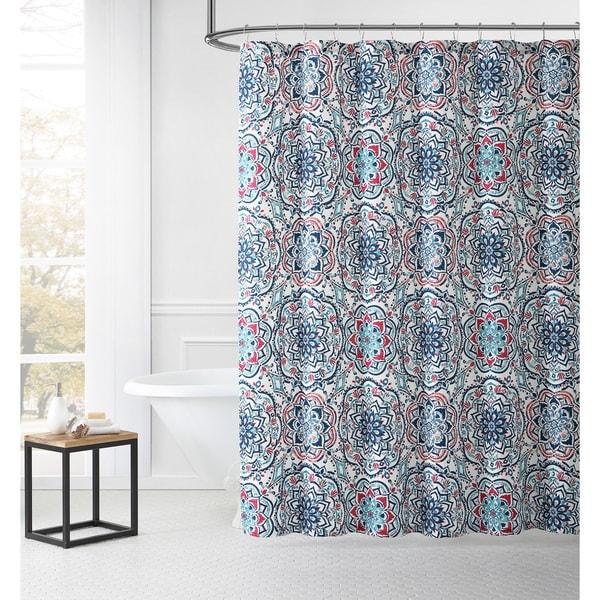 Leila Medallion Easy Care Dobby Shower Curtain
