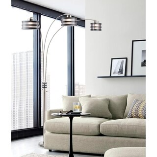 Nova Kobe Three-Light Arc Lamp, Charcoal Gray