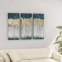 Porch & Den Midnight Forest Gold Foil Embellished 3-piece Canvas Set