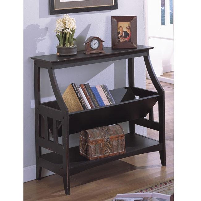 Antique Black Three Shelf Solid Wood Bookshelf 10340185