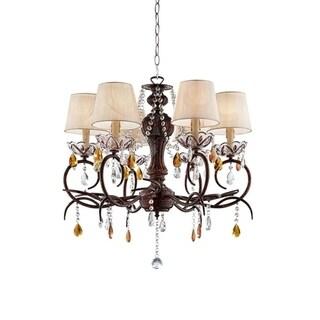 27 Inch Magnolia Crystal Bronze Ceiling Lamp Chandelier