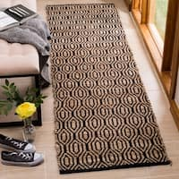 Safavieh Hand-Woven Cape Cod Contemporary Black / Natural Jute Rug (2'3' x 8')