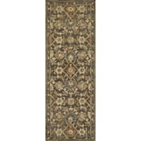 Hand-hooked Traditional Taupe/ Gold Floral Wool Runner Rug - 2'6 x 7'6