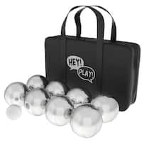 Petanque / Boules Set For Bocce and More with 8 Steel Tossing Balls, Cochonnet, and Carrying Case by Hey! Play!