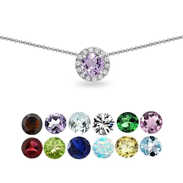 Glitzy Rocks Gemstone & White Topaz Round Halo Slide Choker Necklace in 925 Silver