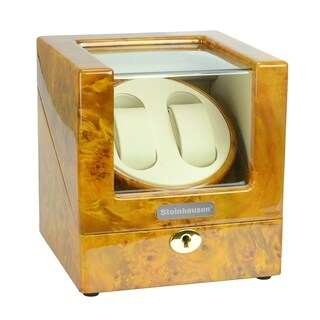 Steinhausen Heritage Double Watch Winder With Ultra Quiet Motor and Multiple Modes/ Burlwood