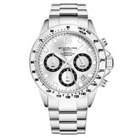 Stührling Original Men's Chronograph Watch Japanese Quartz Water Resistant 100 Meters Stainless Steel Bracelet Screw Down Crown