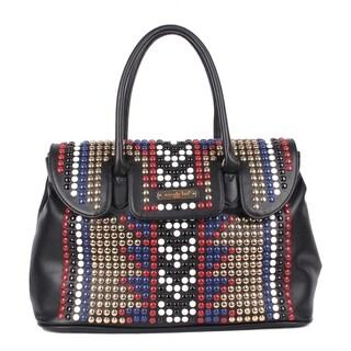 Fenn Black Studded Design Satchel Bag