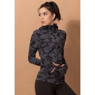 Women's Camo Outdoor Running Yoga Fitness Hooded Full Zip Jacket