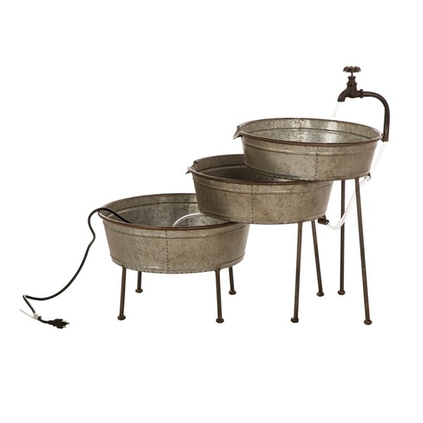 "30""L Farmhouse Galvanized Metal Fountain"