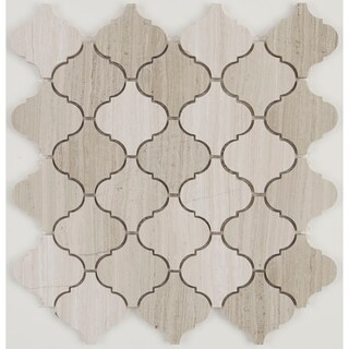 Limestone Polished Baroque Mosaic in Chenille White - 13x13