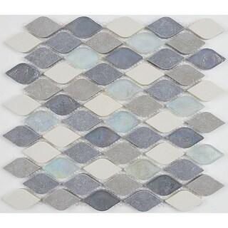 Decorative Accent Rain Drop Stone and Glass Mosaic Tile in Gris et Blanc - 12x13