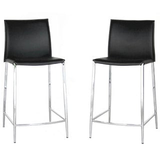 Baxton Studio Oakton Black Leather Bar Stools Set Of 2
