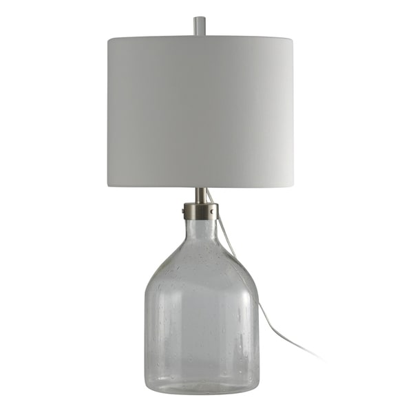 Clear Seeded Table Lamp - White Hardback Fabric Shade