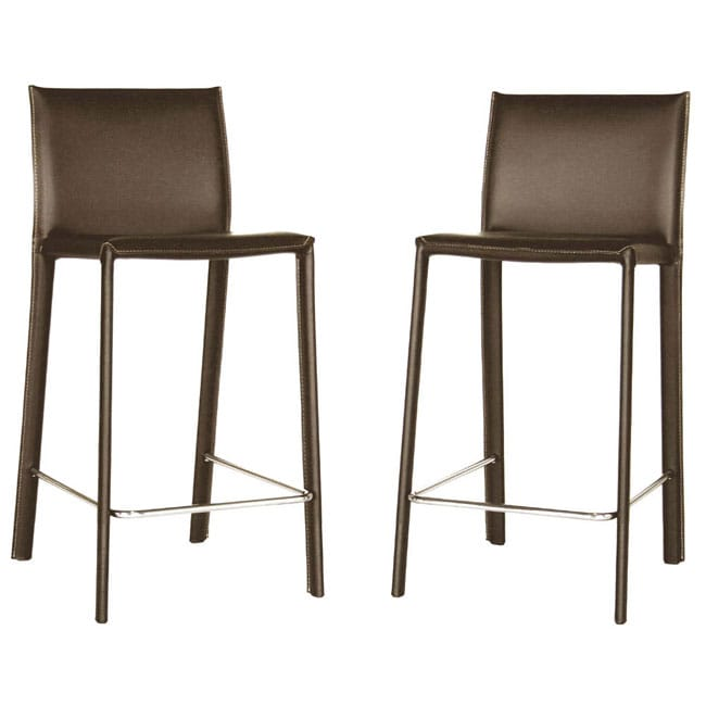 Kazan Brown Leather Counter Stools Set Of 2 Dining Room