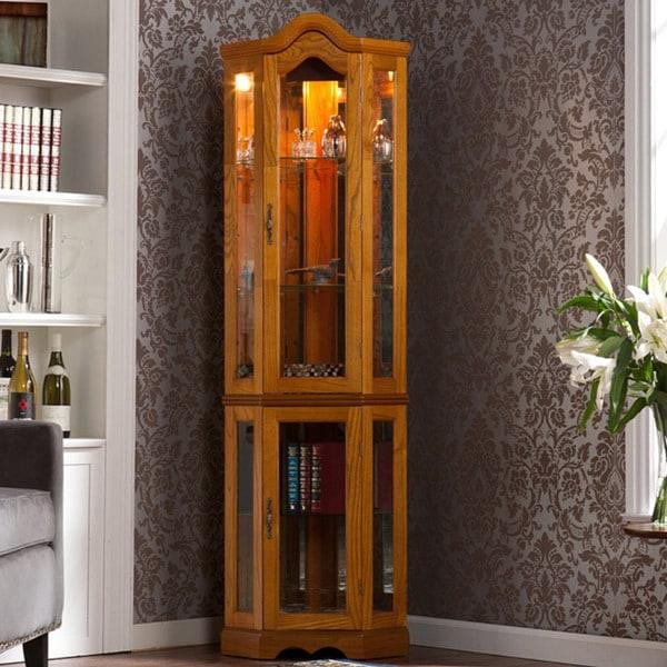 Golden Oak Kitchen Cabinets: McCoy Golden Oak Lighted Display Cabinet