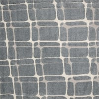 Abstract Mid-century Slate/ Beige Square Shag Rug - 7'7 x 7'7