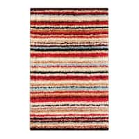Palm Canyon Sandspring Woven Red Barb Stripe Shag Area Rug - 1'11 x 3'3