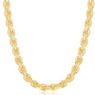 La Preciosa Sterling Silver 14K Gold Overlay Italian Oval Linked 18'' Necklace