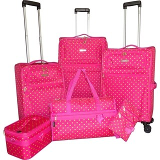 Karriage-Mate Green Polka Dots 6-piece Expandable Spinner Luggage Set