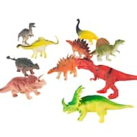 10-Pack Toy Dinosaur Figure Set Includes T-Rex, Stegosaurus, Styracosaurus and More- Fun Assorted Pack Dinosaurs by Hey! Play!