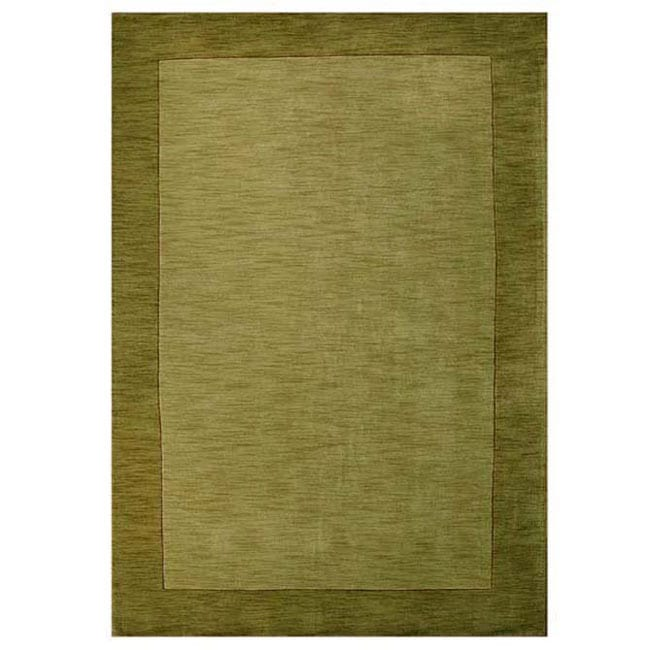 Hand Tufted Olive Green Border Wool Rug 5 X 8