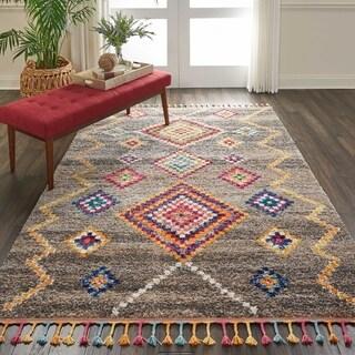 Nourison Moroccan Casbah Grey/Multicolor Tassel Rug - 5'3 x 7'9