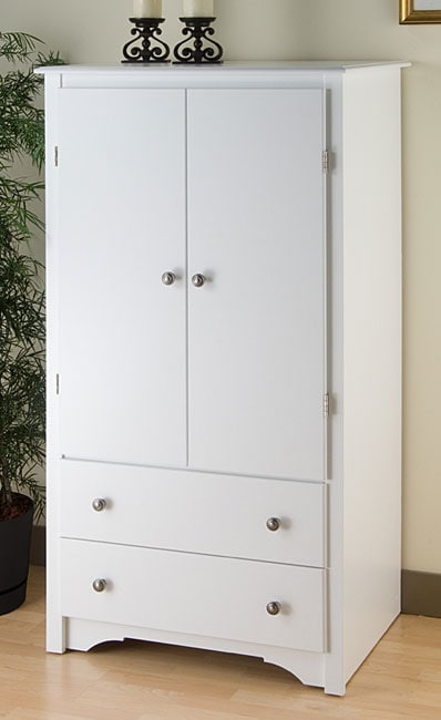 White 2 Drawers Bedroom Furniture Armoire Closet Wardrobe ...