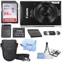 Canon PowerShot ELPH 190 Digital Camera w/10x Optical Zoom & Image Stabilization - Wi-Fi & NFC Enabled+ 64GB SD card+ Bundle Kit