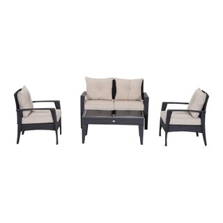 Outsunny 4-piece Outdoor Patio Beige/Grey Rattan Wicker Cushioned Chair and Loveseat Furniture Set