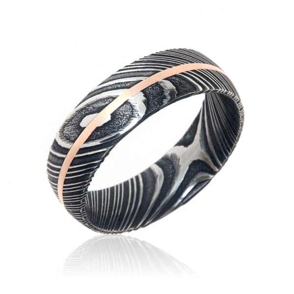 Damascus Steel Wedding Bands USA Made 14k Rose Gold Rings Damascus Rings - Black