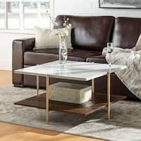 Mid-Century Simone Square Coffee Table - Faux Marble & Gold