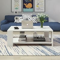 Wood Rectangle Open-storage Coffee Table