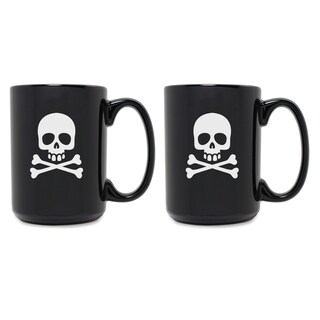 Skull & Crossbones Grande Black Mug (Set of 2) - N/A