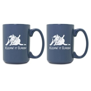 Keepin It Classy Cat Grande Steel Blue Mug (Set of 2) - N/A