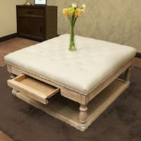 Suleiman Tufted Padded Cocktail Ottoman with Shelf and Drawer