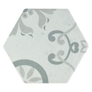 SomerTile 5.875x6.75-inch Botnen Hex Decor Trium Porcelain Floor and Wall Tile (30 tiles/6.77 sqft.)