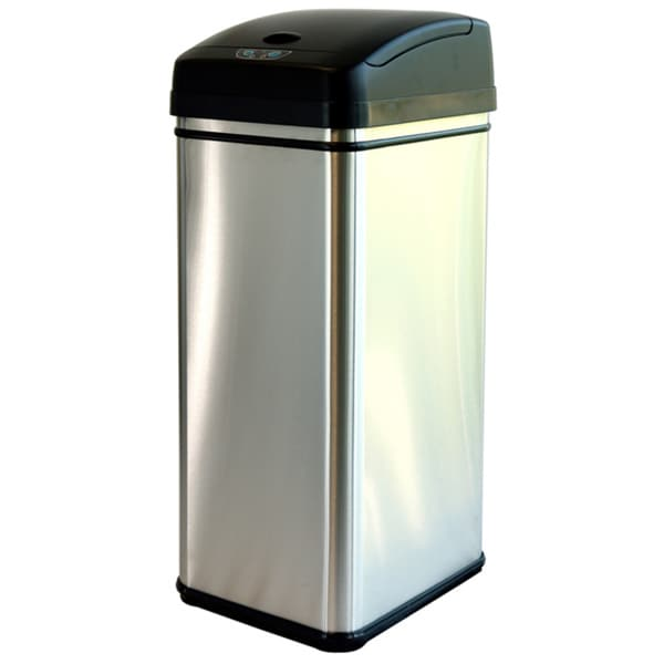 Stainless Steel Kitchen Garbage Can: ITouchless 13-gallon Deodorizer Filtered Stainless Steel
