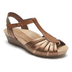 Women's Rockport Cobb Hill Hollywood Pleated T Strap Sandal Bronze Full Grain Leather