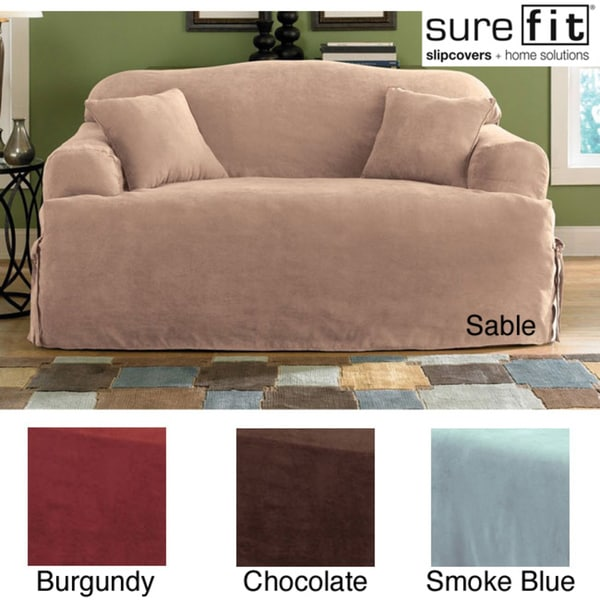 T Shaped Sofa Covers: Sure Fit Smooth Suede T-cushion Sofa Slipcover