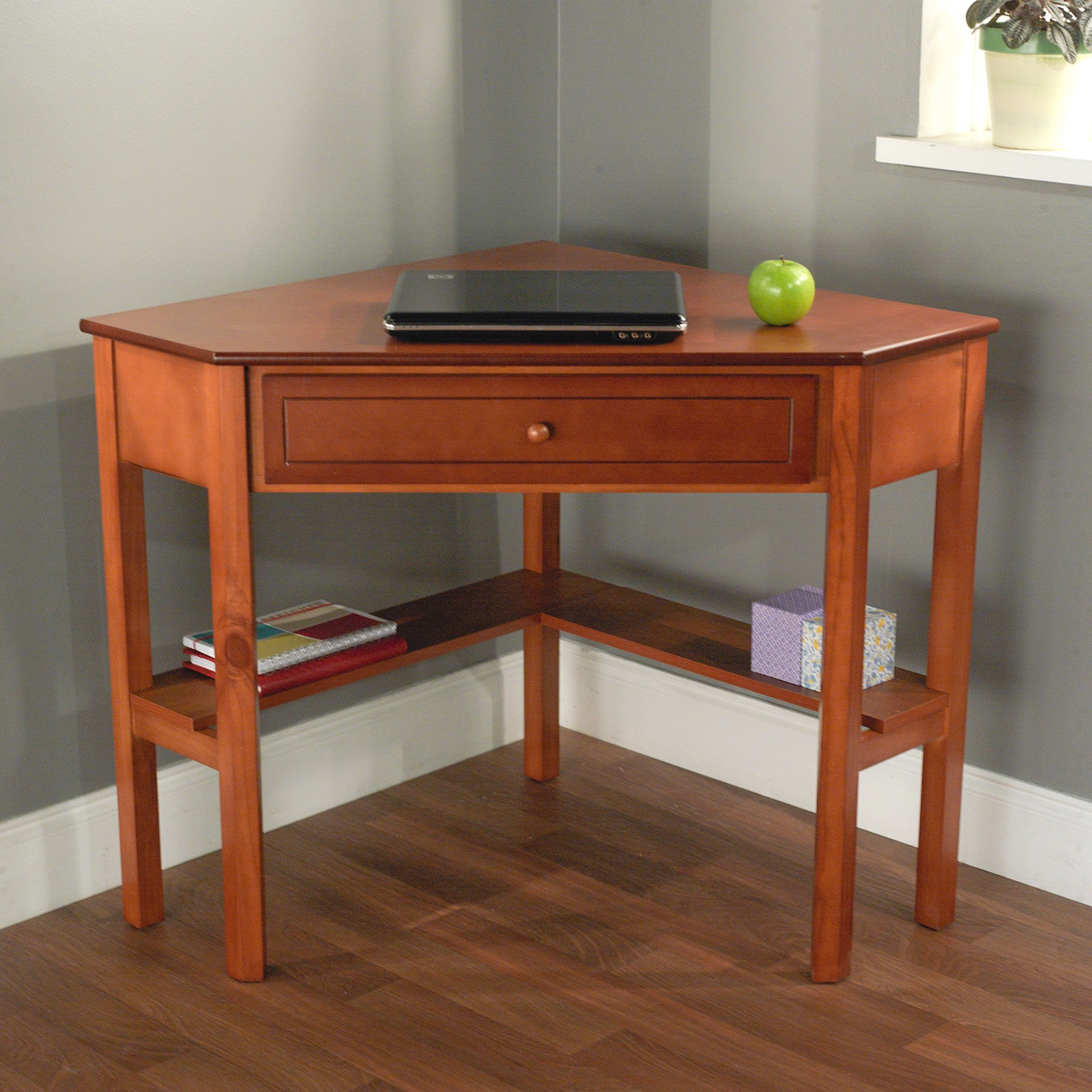 Living Spaces Office Furniture: Simple Living Wood Corner Computer Desk